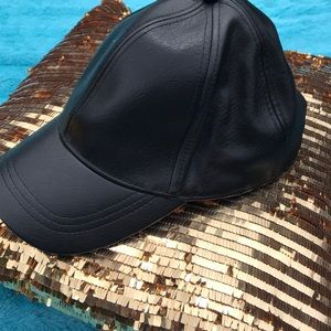 Faux leather hat by H&M